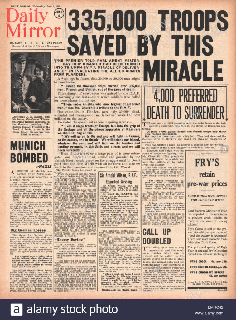 1940 front page daily mirror 335000 troops rescued from dunkirk EMRC42