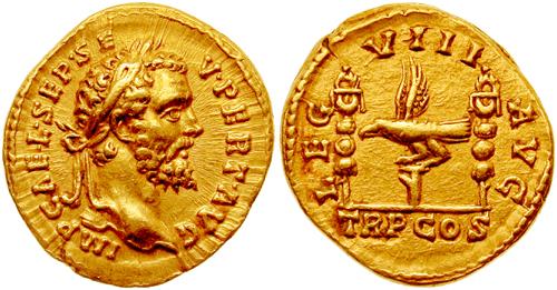 Aureus Septimius Severus l8augusta RIC 0011Aureus